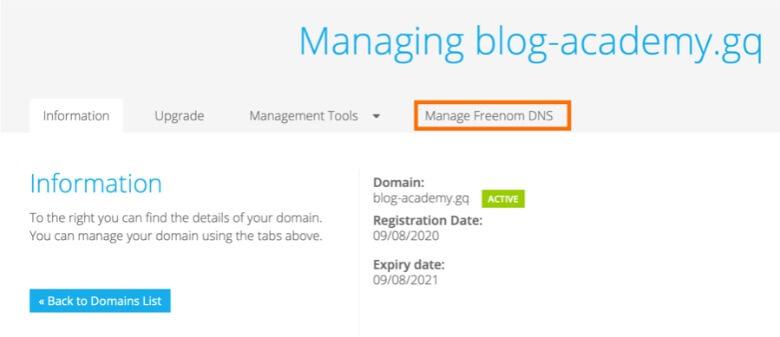 Freenomのドメイン詳細管理画面