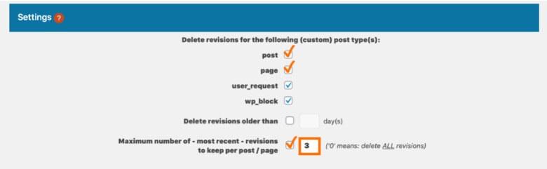 Optimize Database after Deleting Revisionsの設定方法