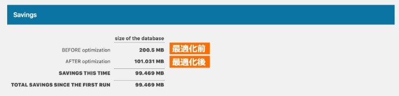 Optimize Database after Deleting Revisions 実行結果