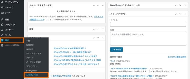 WordPress管理画面 Activity Plus