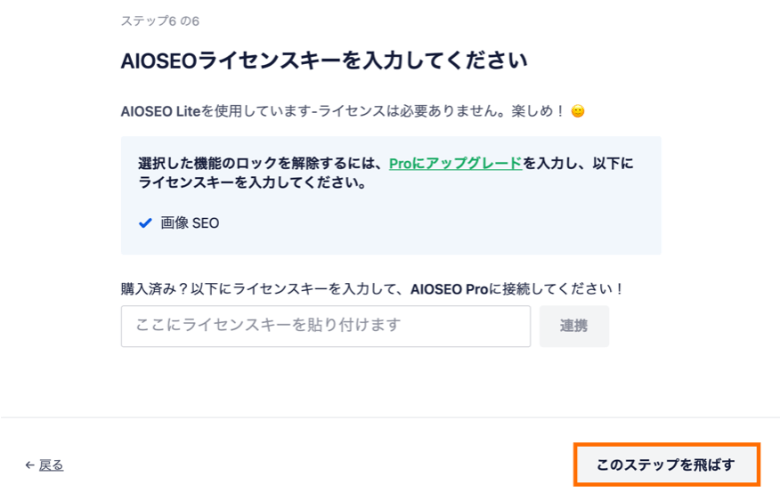 All in One SEO ライセンスキーを入力してください