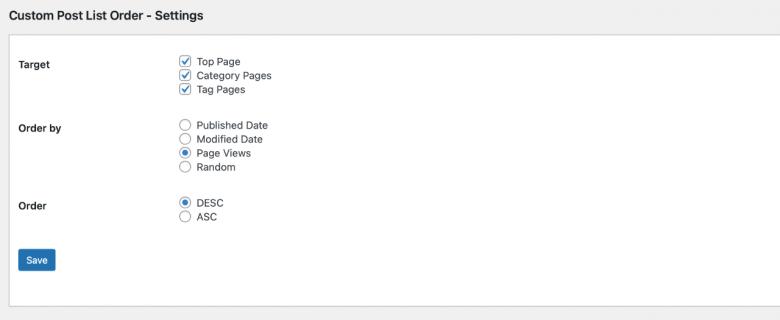 Custom Post List Order Setting Page
